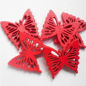 Hot DIY Butterfly Buttons, Wooden Buttons, Red, about 19mm long, 18mm wide, 100pcs/bag(FNA160R)