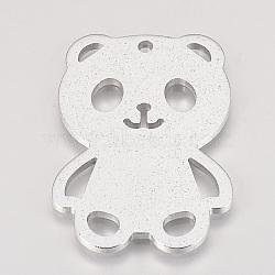 grands pendentifs en aluminium de l'environnement, laser coupé gros pendentifs, panda, argent, 60x39x2.5 mm, trou: 3 mm(ALUM-Q001-75B)