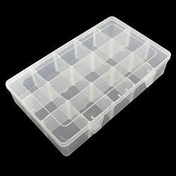 Récipients de stockage de perles en plastique rectangle, boîte de séparation réglable, 15 compartiments, blanc, 16.5x27.5x5.5 cm