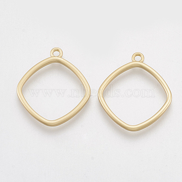 Smooth Surface Alloy Open Back Bezel Pendants, For DIY UV Resin, Epoxy Resin, Pressed Flower Jewelry, Rhombus, Matte Gold Color, 22.5x20x1.5mm, Hole: 1.5mm(X-PALLOY-S117-128)