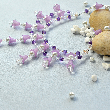 DIY Necklace Kits, Two Tiered Necklaces, Flower, Mixed Color, 9mm(DIY-JP0003-07)