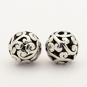 Alloy Filigree Beads, Filigree Ball, Round, Antique Silver, 10mm, Hole: 2mm(X-PALLOY-L118-04)