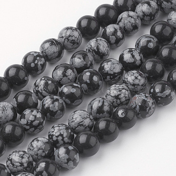 Natural Snowflake Obsidian Bead Strands, Round, 8~8.5mm, Hole: 1mm; about 45~47pcs/strand, 14.9''(38cm)(G-G735-72-8mm)