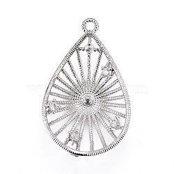 Pendentifs en laiton, avec zircons, pour la moitié de perles percées, goutte , clair, platine, 23.5x14.5x4.5mm, trou: 1.2 mm; diamètre intérieur: 12 mm; goupille: 1mm(KK-L177-20P)