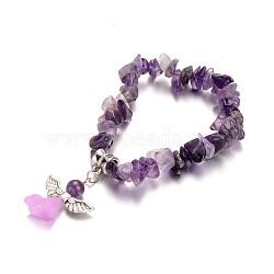 Bracelets améthyste naturelle d'enfants, avec perle acrylique et les accessoires en alliage d'argent antique, belle robe de mariée ange dangle, 39mm(BJEW-JB02062-04)