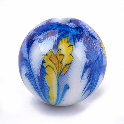 Perles acryliques imprimées, ronde avec des fleurs, bleu royal, 20x19mm, Trou: 2.5mm(MACR-T024-51)