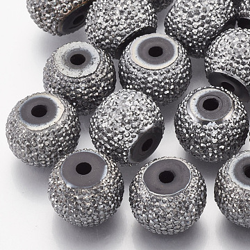 10mm Gray Rondelle Resin+Rhinestone Beads