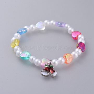Acrylic Imitated Pearl  Stretch Kids Charm Bracelets, with Alloy Enamel Charms and Heart Transparent Acrylic Beads, for Christmas, Bell, Colorful, 1-3/4 inches(4.6cm)(BJEW-JB04573-02)
