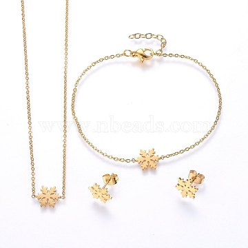 304 Stainless Steel Jewelry Sets, Pendant Necklaces & Stud Earrings & Bracelets, Snowflake, Golden, 16.54 inches(42cm); 7-1/8 inches(18cm); 10.5x9x1mm; Pin: 0.8mm(SJEW-H138-16G)
