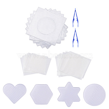 ABC Plastic Pegboards used for 5x5mm DIY Fuse Beads, with Ironing Paper and Plastic Fuse Bead Tweezers, Mixed Shapes, Clear, 74~138x83~138mm(DIY-X0294-02)