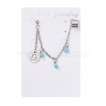 304 Stainless Steel Cuff Earrings, with Synthetic Turquoise Beads, Rolo Chains, Brass Earring Finding and Rubber Ear Nuts, Flat Round with Constellation/Zodiac Sign, Libra, 90mm, Pin: 0.9mm(X-EJEW-JE03732-06)