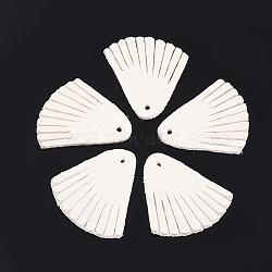 pendentifs de gland en cuir de peau de mouton environnementale, blanc crème, 24x23x1.5 mm, trou: 1.5 mm(FIND-T045-07A-08)