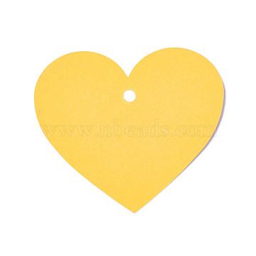 Blank Kraft Paper Card, Pearlized, DIY Bookmark Card, Heart, Yellow, 7x8x0.03cm, Hole: 0.5cm(DIY-WH0143-07B-08)