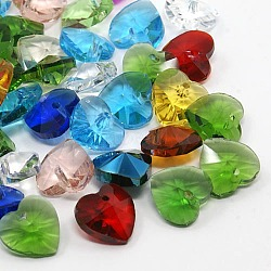 Breloques en verre, charmes de coeur à facettes pour les bijoux de la Saint-Valentin, couleur mixte, 14x14x8mm, Trou: 1mm(X-G030V14mm-M)
