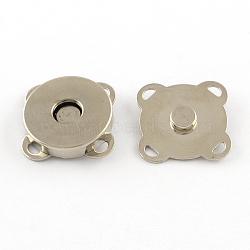 Fer fermoirs bourse d'accrochage, fermeture pour sac à main, platine, 19x19x7mm, Trou: 1.5x2mm(X-IFIN-R203-68P)