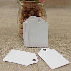 Étiquettes-cadeaux en papier, étiquettes de suspension, pour les arts et l'artisanat, rectangle, blanc, 50x30x0.4mm, Trou: 5mm(CDIS-P001-C04)