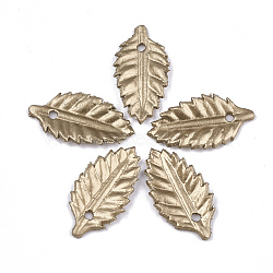 pendentifs environnementaux de peau de vache, feuille, verge d'or, 26x14x1.5 mm, trou: 2 mm(FIND-T045-33F)