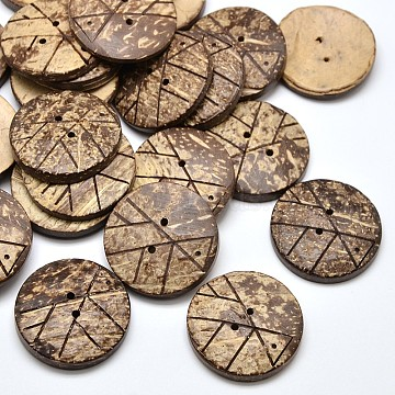 2 Holes Flat Round Coconut Sewing Buttons, Coconut Brown, 30x5~6mm, Hole: 1mm(X-BUTT-O008-05)