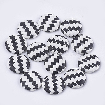 Handmade Straw Woven Cabochons, with Aluminum Bottom, Flat Round, Platinum, Black, 17.5~18x4.5mm(X-WOVE-S119-06A)