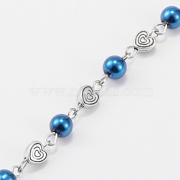 Handmade Round Glass Pearl Beads Chains for Necklaces Bracelets Making, with Tibetan Style Alloy Heart Beads and Iron Eye Pin, Unwelded, Dodger Blue, 39.3 inches(AJEW-JB00077-06)