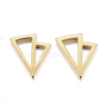 304 Stainless Steel Ear Fake Plugs, Ear Studs, Hypoallergenic Earrings, Triangle, Golden, 11mm; pin: 1mm(X-EJEW-K043-06G)