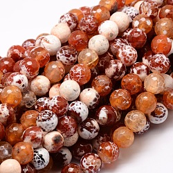 Dyed Natural Agate Faceted Round Beads Strands, Coral, 16mm, Hole: 1mm; about 25pcs/strand, 15.3inches