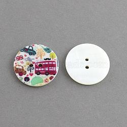 Bouton en coquillage rond plat 2 -hole , teint, colorées, 30x3mm, Trou: 2.5mm(X-SHEL-S241-18)