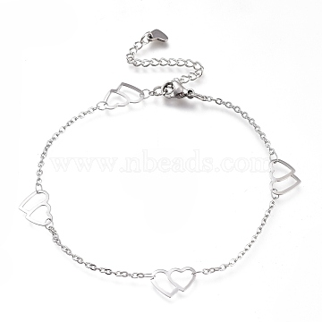 304 Stainless Steel Cable Chain Anklets, with Double Heart Links and Lobster Claw Clasps, Stainless Steel Color, 9-1/8 inches(23cm)(AJEW-M026-05P)