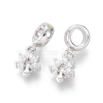19mm Clear Tree Brass+Cubic Zirconia Dangle Beads