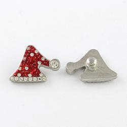 Boutons de vacances, noël alliage chapeau argile polymère boutons bijoux en strass snap, de couleur métal platine , light siam, 20.5x22x8mm, Bouton: 6 mm(X-SNAP-Q004-01D)