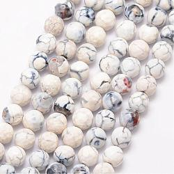 Natural Fire Agate Bead Strands, Round, Grade A, Faceted, Dyed & Heated, White, 8mm, Hole: 1mm; about 47pcs/strand, 15inches