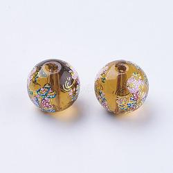 Цветок окрашены стеклянные бусины, круглые, Перу, 10x9 мм, отверстие : 1.5 мм(GLAA-E399-10mm-D08)