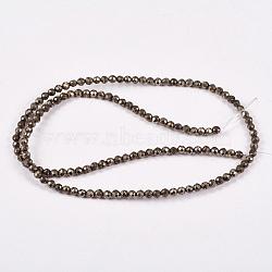 """Chapelets de perles de pyrite naturelle , rond, facette, 3mm, trou: 0.5mm; environ 130 pcs/chapelet, 15.74""""(G-L031-3mm-03)"""