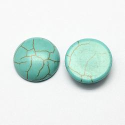 Accessoires d'artisanat cabochons à dôme à dos plat en turquoise synthétique teinte, demi-rond, darkcyan, 14x5mm(X-TURQ-S266-14mm-01)