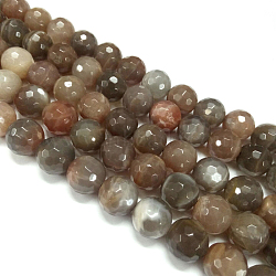 Natural Sunstone Beads Strands, Grade AB, Faceted, Round, 8mm, Hole: 1mm; about 47pcs/strand, 15.5inches
