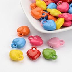 Breloque de cœur en acrylique et lisse mixtes, 18x15x6.5mm, Trou: 3.5mm(X-MACR-G040-M)