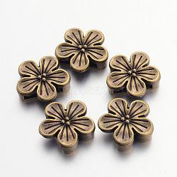 Tibetan Style Flower Alloy Slide Charms, Cadmium Free & Nickel Free & Lead Free, Antique Bronze, 16x16.5x5mm, Hole: 12x3mm(X-TIBEB-Q064-19AB-NR)