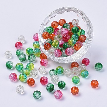 5 Colors Spray Painted & Baking Painted Crackle Glass Beads, Round, Mixed Color, 8mm, Hole: 1.3~1.6mm(CCG-X0010-10-8mm)
