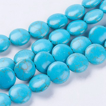 14mm DeepSkyBlue Flat Round Synthetic Turquoise Beads
