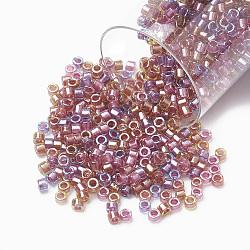Miyuki® delica beads, perles de rocaille japonais, 11 / 0, (db 0982) mélange tutti frutti doublé de mousseux (or rose violet), 1x1.5 mm, trou: 0.5 mm; sur 2000 pcs / bouteille(SEED-S015-DB-0982)