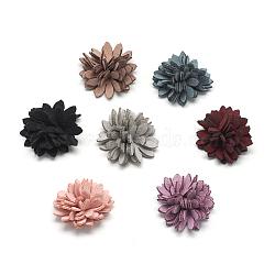 Ручной работы искусственная кожа тканые костюмы аксессуары, цветок, разноцветные, 25~26x11~15 мм(X-WOVE-Q064-32)