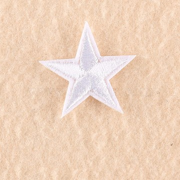 Computerized Embroidery Cloth Iron on/Sew on Patches, Costume Accessories, Appliques, Star, White, 3x3cm(X-DIY-F030-11-22)