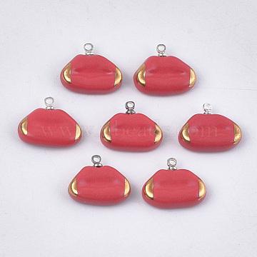 Platinum Red Lip Porcelain Charms