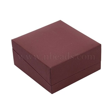 Square Leather Bracelet & Bangle Gift Boxes with Black Velvet, IndianRed, 8.5x9x4.3cm(LBOX-D009-05A)