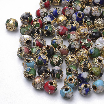 6mm Mixed Color Round Cloisonne Beads