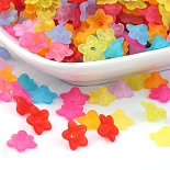 9mm Mixed Color Flower Acrylic Beads(X-FACR-R013-M)