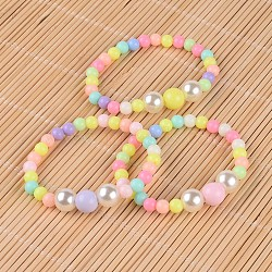 Round Opaque Acrylic Beaded Stretch Kids Bracelets, with Imitation Pearl Acrylic Beads, Mixed Color, 1-3/4inches(4.6cm)(X-BJEW-JB02306)