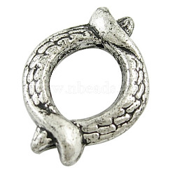 CCB Plastic Fish Bead Frames, Antique Silver Color, 27mm long, 20mm wide, 5mm thick, 6mm in inner diameter,  hole: 1.5mm(X-PLS035Y)