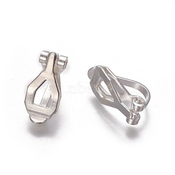 Brass Clip-on Earring Findings, Silver Color Plated, 12.5x6x8.5mm(KK-F785-01S)