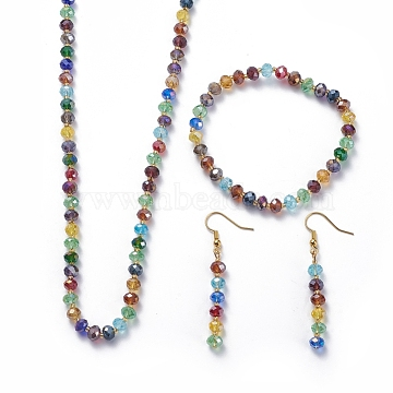 Electroplate Glass Beads Jewelry Sets, Beaded Necklaces, Stretch Bracelets and Dangle Earrings, with Glass Seed Beads and Golden Tone Brass Earring Hooks, Mixed Color, 31.1 inches(79cm), 57mm, 2-1/8 inches(5.5cm)(SJEW-JS01065)